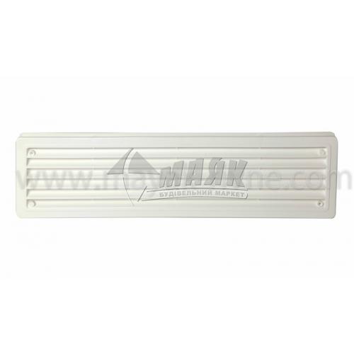 Решітка вентиляційна дверна прямокутна ДОМОВЕНТ ДВ 440/2 120×460 мм біла