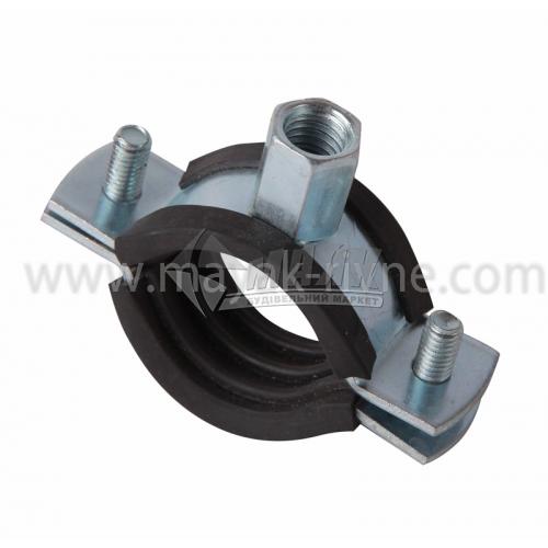 Хомут для труби 107-112 мм з гумовою прокладкою та різьбою 8-10 мм