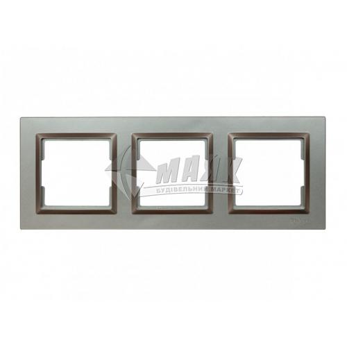 Рамка тримісна горизонтальна Luxel JAZZ графіт