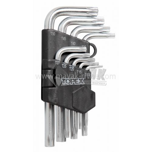 Набір ключів шестигранних (імбусових) VOREL TORX Т10-Т50 9 шт Cr-V