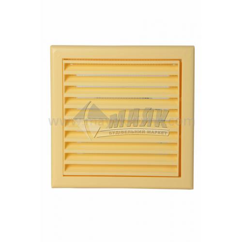 Решітка вентиляційна квадратна ДОМОВЕНТ ДВ 100 с роз'ємна 154×154 мм жовта