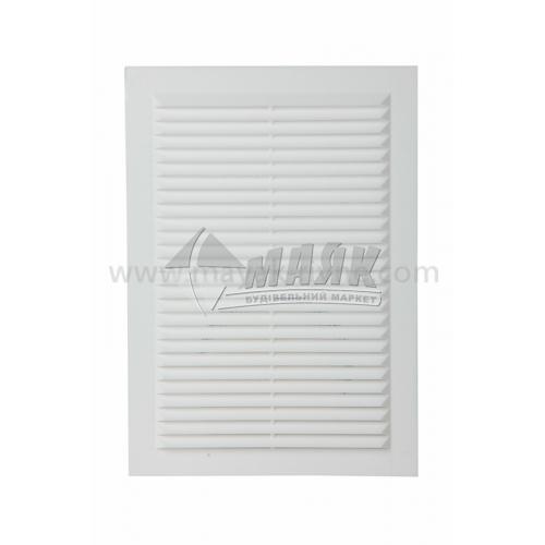 Решітка вентиляційна прямокутна ДОМОВЕНТ ДВ 125-1 с нероз'ємна 170×238 мм біла