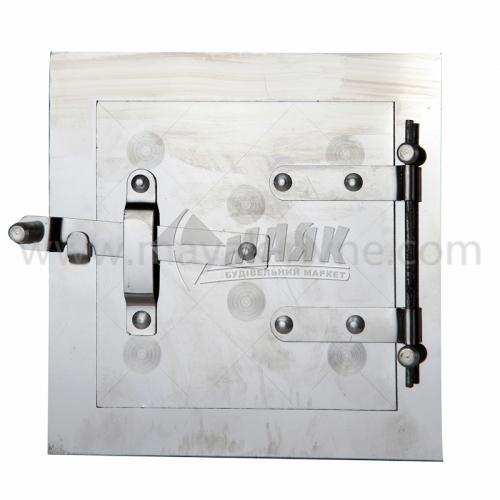 Дверцята прочисні нержавіюча сталь накладний завіс 150×150 мм 0,22 кг