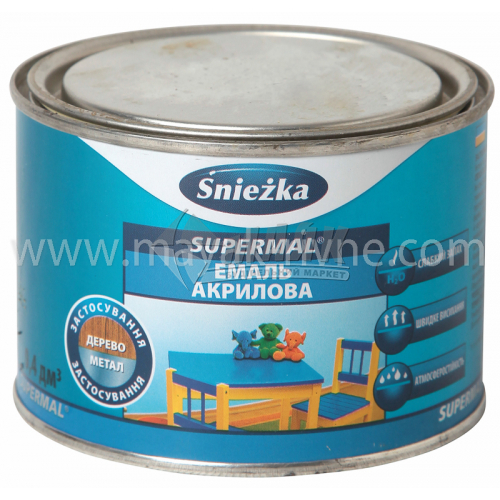 Емаль акрилова для дерева та металу Sniezka Supermal 0,4 л біла