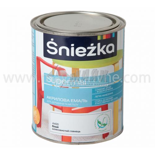 Емаль акрилова для дерева та металу Sniezka Supermal 0,8 л біла