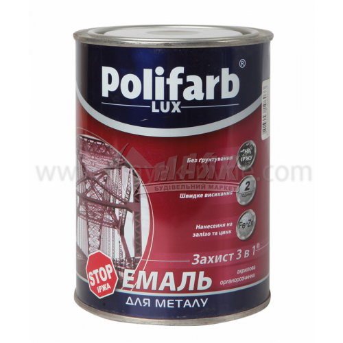 Емаль антикорозійна Polifarb 3в1 для оцинкованого металу 0,9 кг RAL 7042 сіра