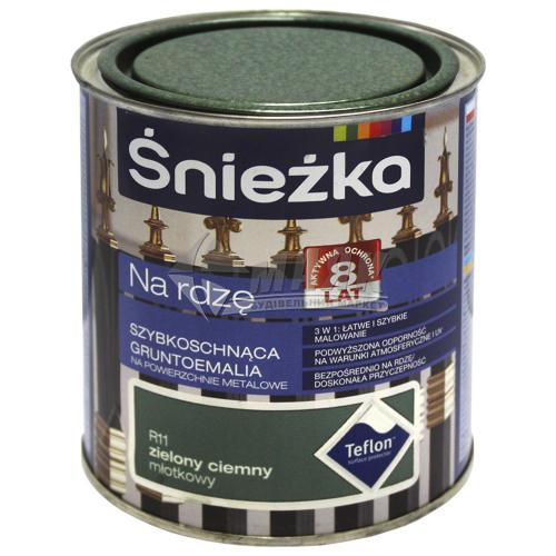 Емаль антикорозійна Sniezka На іржу 0,65 л R11 молоткова темно-зелена
