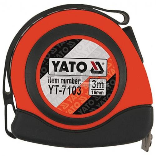 Рулетка YATO прогумований корпус 1 функція 3 м×16 мм нейлонове покриття стрічки з магнітом