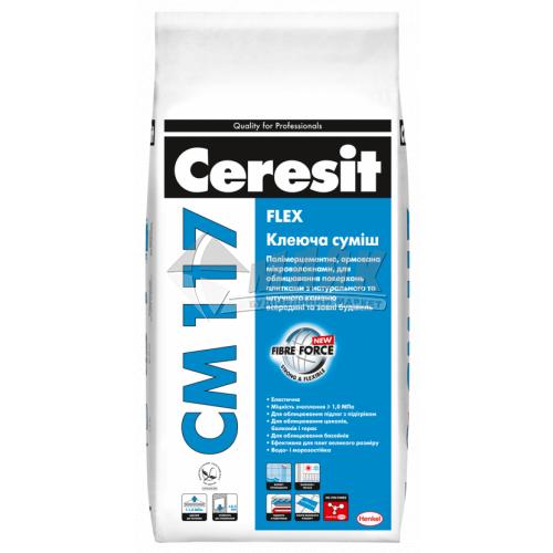 Клей для облицювальної плитки Ceresit CM 117 Flex 5 кг