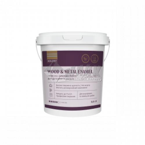 Емаль акрилова для дерева та металу Kolorit Wood and Metal Enamel 0,9 л біла напівматова