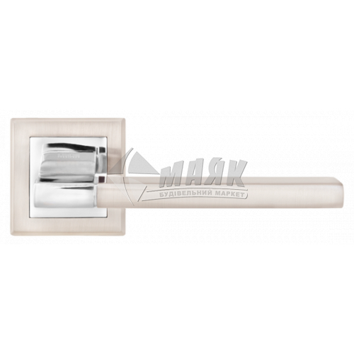Ручки дверні на розетці LINDE A-2008 SN/CP нікель матовий/хром полірований