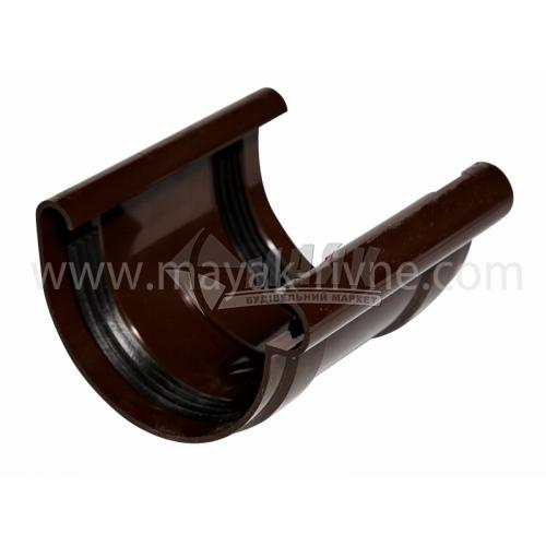 Муфта (з'єднувач) ринви з прокладкою пластикова Profil 90 мм 90/75 коричнева