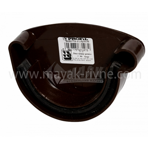 Заглушка ринви пластикова права P Profil 130 мм 130/100 коричнева