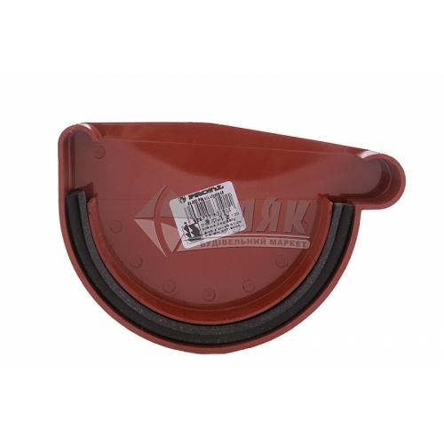 Заглушка ринви пластикова права P Profil 130 мм 130/100 цегляна