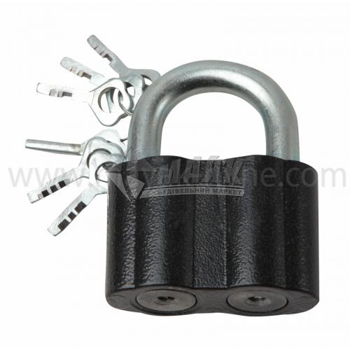 Замок навісний відкритий (амбарний) Голеол 3ВС-2 2 механізми 3+3 ключі чавунний