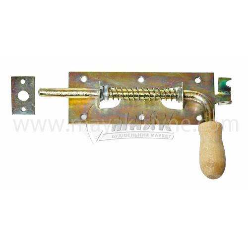 Засув гаражний №1 200 мм з дерев'яною ручкою оцинкований