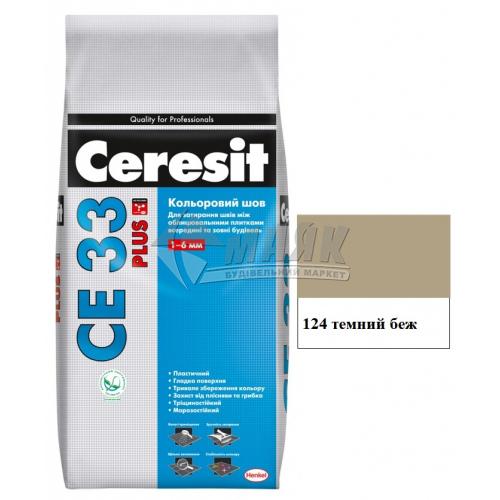 Фуга (затирка) Ceresit CE 33 Plus до 6 мм 2 кг 124 темний бежевий