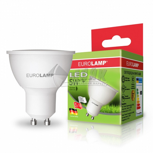 Лампа світлодіодна точкова EUROLAMP 5Вт GU10 MR16 4000°К (LED-SMD-05104(Р))