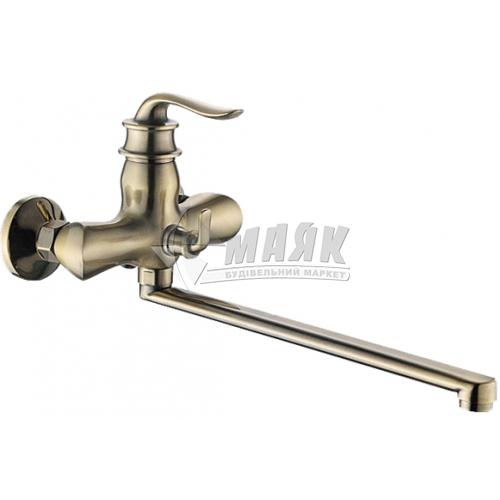 Змішувач для ванни ZERIX 1Р Z22219-2 з душовим комплектом одноважільний настінний довгий гусак бронза