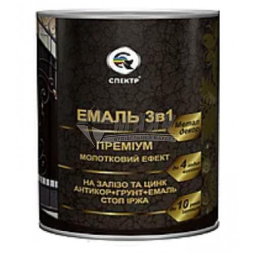 Емаль антикорозійна Спектр Преміум 3в1 2,2 кг молоткова чорна