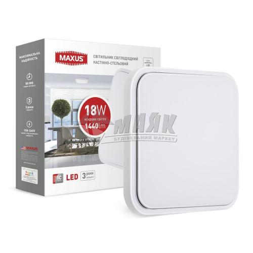 Світильник світлодіодний квадратний накладний Maxus 18Вт 4100°К 1-MAX-03-LCL-1841-S білий