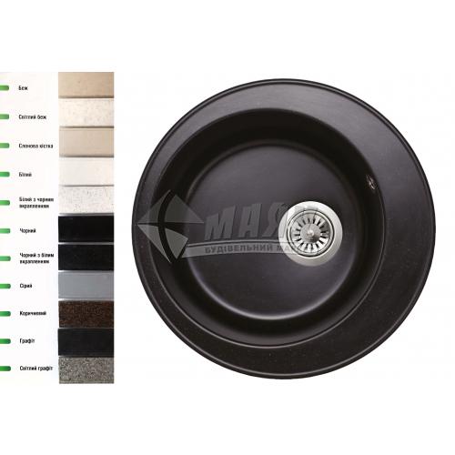 Мийка кухонна гранітна кругла Lavelli Санта 500 мм чорний з білим вкрапленням