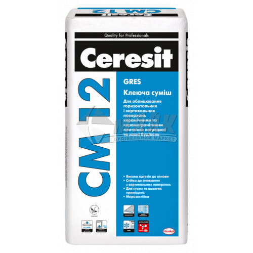 Клей для облицювальної плитки Ceresit CM 12 Gres 25 кг