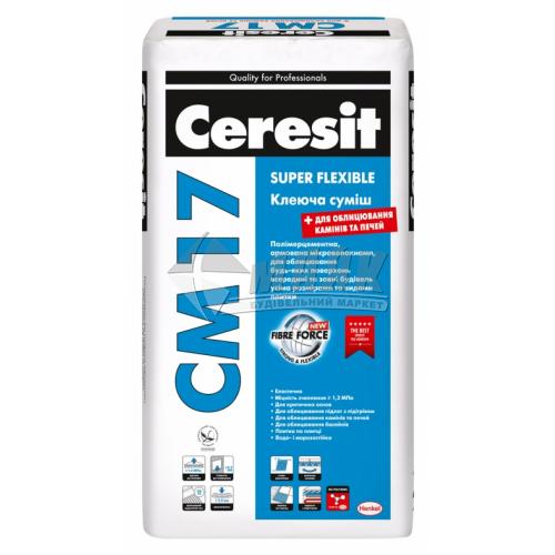 Клей для облицювальної плитки Ceresit CM 17 Super Flexible 25 кг