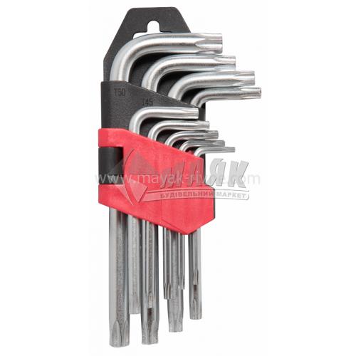 Набір ключів шестигранних (імбусових) TORX Т10-Т50 9 шт Cr-V