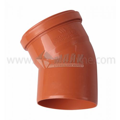 Коліно ПВХ зовнішня каналізація Інсталпласт 30° 110 мм