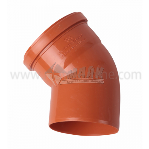 Коліно ПВХ зовнішня каналізація Інсталпласт 45° 110 мм