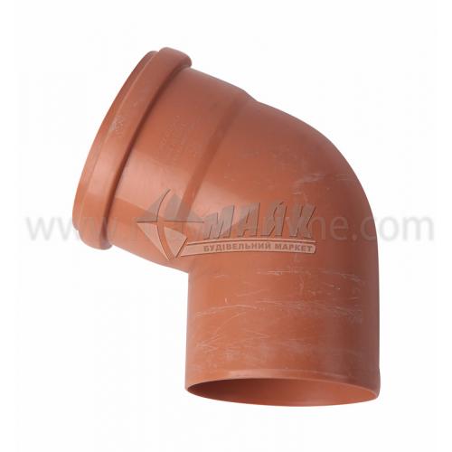Коліно ПВХ зовнішня каналізація Інсталпласт 67° 110 мм