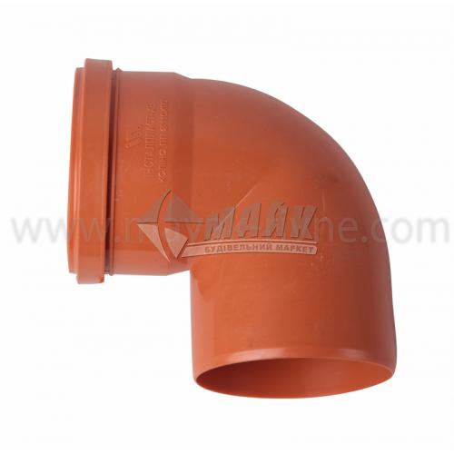 Коліно ПВХ зовнішня каналізація Інсталпласт 90° 110 мм