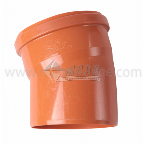 Коліно ПВХ зовнішня каналізація Інсталпласт 15° 160 мм
