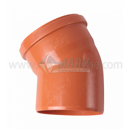 Коліно ПВХ зовнішня каналізація Інсталпласт 30° 160 мм