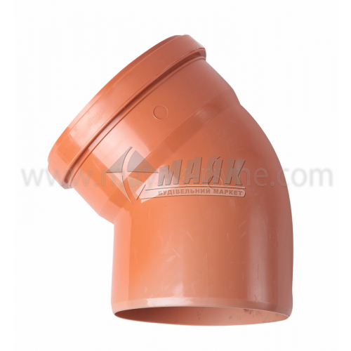 Коліно ПВХ зовнішня каналізація Інсталпласт 45° 160 мм