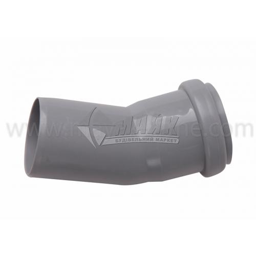 Коліно ПВХ внутрішня каналізація Інсталпласт 20° 50 мм сіре
