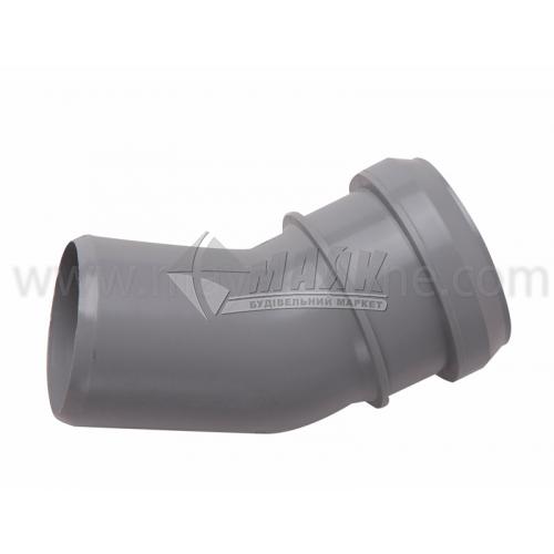 Коліно ПВХ внутрішня каналізація Інсталпласт 30° 50 мм сіре