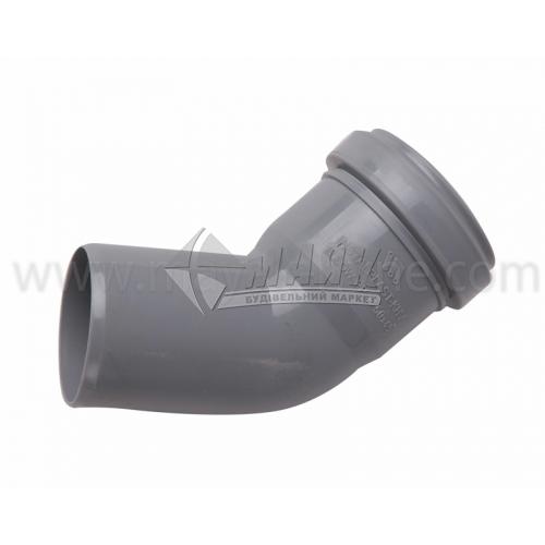 Коліно ПВХ внутрішня каналізація Інсталпласт 45° 50 мм сіре