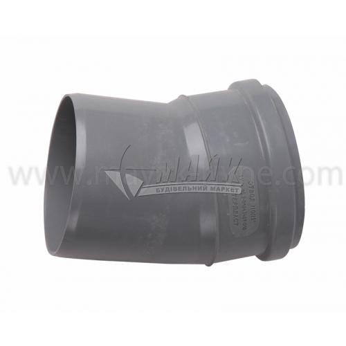 Коліно ПВХ внутрішня каналізація Інсталпласт 15° 110 мм сіре
