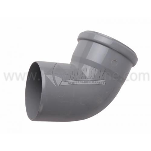 Коліно ПВХ внутрішня каналізація Інсталпласт 67° 110 мм сіре