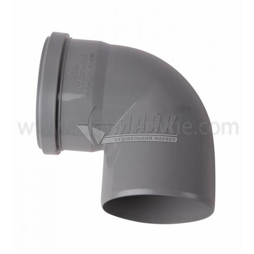 Коліно ПВХ внутрішня каналізація Інсталпласт 90° 110 мм сіре