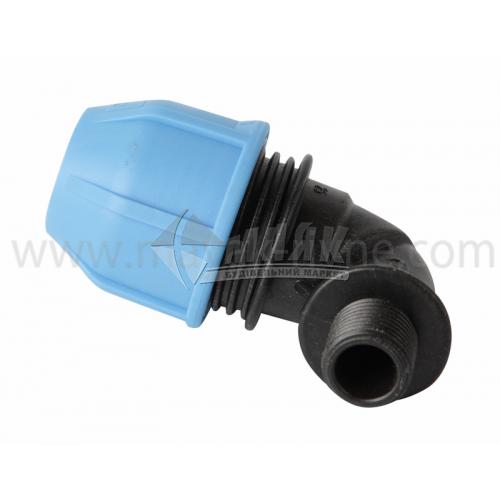 """Коліно для водопровідної труби VS Plast 25 мм 1/2"""" зовнішня різьба"""
