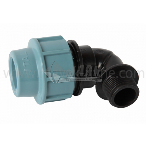 """Коліно для водопровідної труби VS Plast 25 мм 3/4"""" зовнішня різьба"""