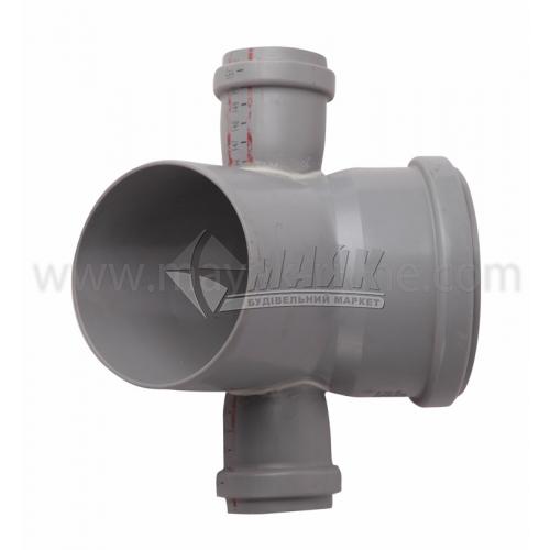 Коліно складне ПВХ внутрішня каналізація Profil 45° 110×50×50 мм сіре
