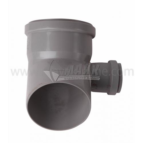 Коліно складне праве ПВХ внутрішня каналізація Profil 45° 110×50 мм сіре