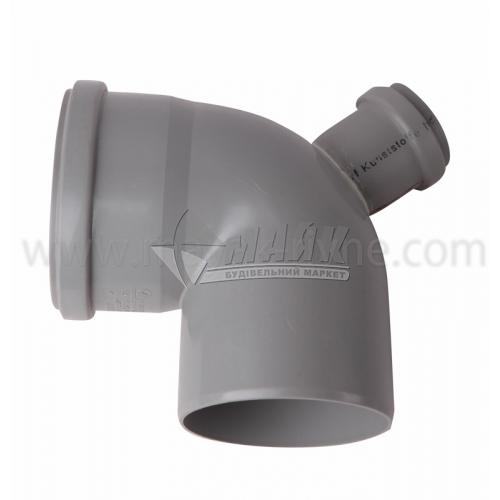 Коліно складне ПВХ внутрішня каналізація Profil 87° 110×50 мм вивід 45° сіре