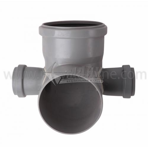 Коліно складне ПВХ внутрішня каналізація Profil 87° 110×50×50 мм сіре