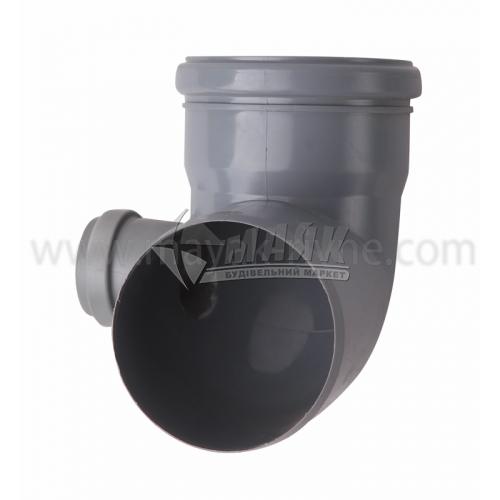 Коліно складне ліве ПВХ внутрішня каналізація Profil 87° 110×50 мм сіре