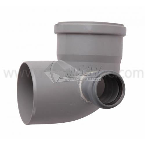 Коліно складне праве ПВХ внутрішня каналізація Profil 87° 110×50 мм сіре